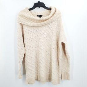 WHBM Chunky Knit Cowl Neck Sweater Cream Large